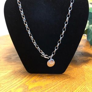 Silver Pave Disc Chain Necklace